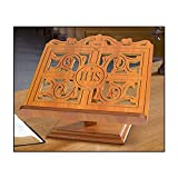 IHS Carved Bible Stand Beautifully Detailed Carved Oak Wood