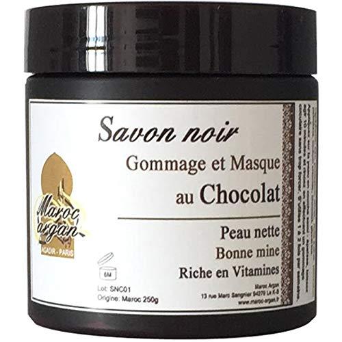 Gommage et Masque au Chocolat et Savon Noir - Peau nette et Teint éclatant - 250g Maroc Argan