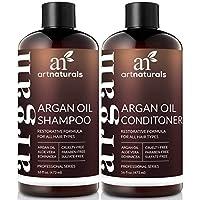 Champú y acondicionador para el aceite de argán marroquí orgánico de ArtNaturals - (2 x 16 Fl Oz /473ml) - Sin sulfato - Voluminizador y humectación - Suave para el cabello rizado y tratado con color - Infundido con queratina