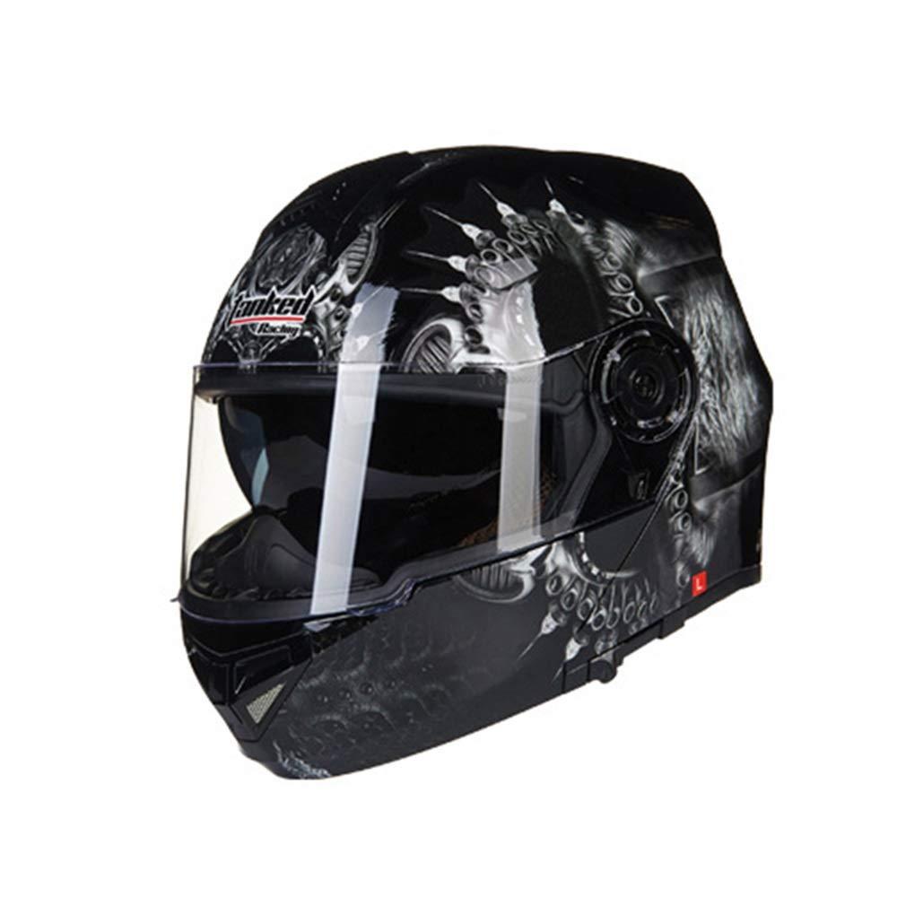 オートバイヘルメットメンズダブルレンズフルカバーオープンフェイスヘルメット電動オートバイヘルメット - 黒と白 - パターン ファッショントレンド (Size : XXL) XX-Large  B07T6B1ZF3