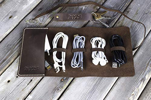 - Leather Cord Organizer Wrap Holder Cable bag Roll Holder Earphone wrap winder Travel Accessories (Brown) + gift. Y2S