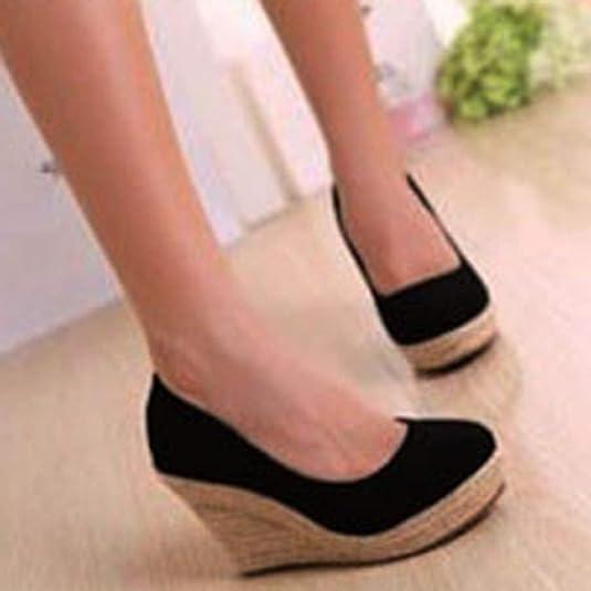 Zapatos con CuñAs para Mujer Zapatillas De Plataforma Alpargatas Deslizamiento De Punta Redonda En La Playa Poco Profunda Boda Vestido Informal Calzado: ...