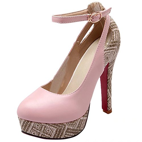 AIYOUMEI Knöchelriemchen Pumps mit Schnalle Plateau High Heels Damen Stiletto Party Schuhe Rosa