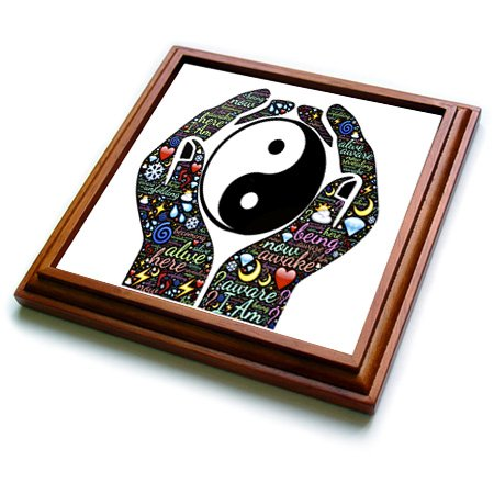 """3dRose Motivational Cupped Hands with Sayings and Yin and Yang Sign Trivet with Ceramic Tile, 8 by 8"""", Brown"""
