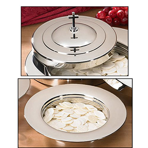 Silver Finish Bread Plate & Cover With Cross -