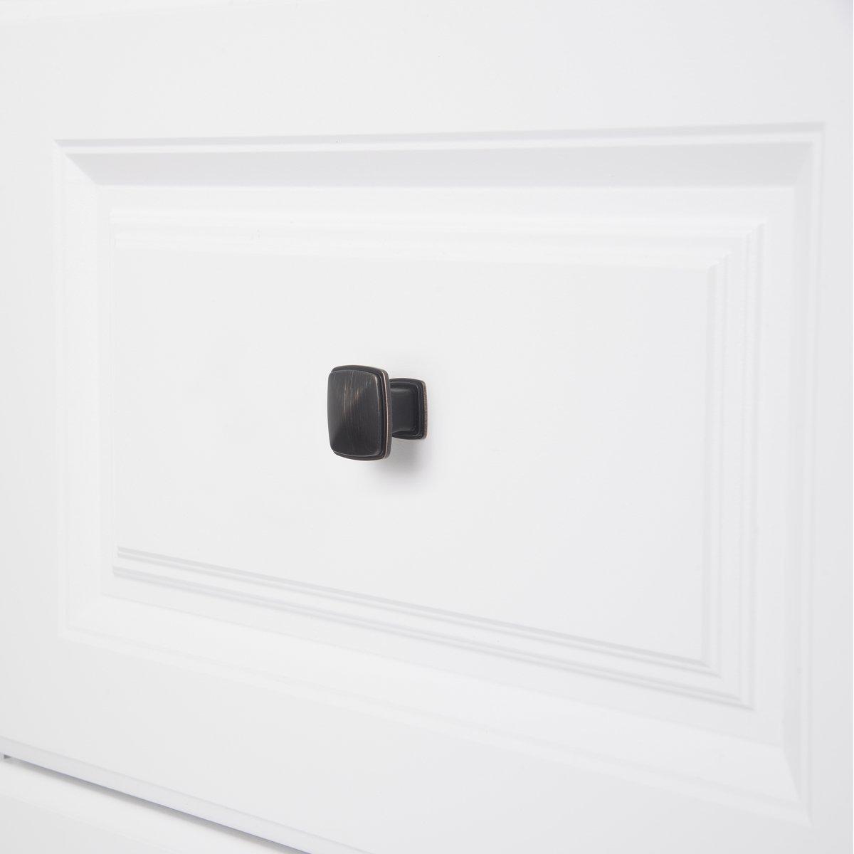 M/öbelgriff 10er-Pack klassisch Satinierter Nickel Schubladenknopf Durchmesser: 3,17 cm quadratisch Basics