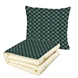 iPrint Quilt Dual-Use Pillow Damask French Pattern Inspired by Rococo Era Designs Intricate Renaissance Motifs Decorative Multifunctional Air-Conditioning Quilt Jade Green Gold