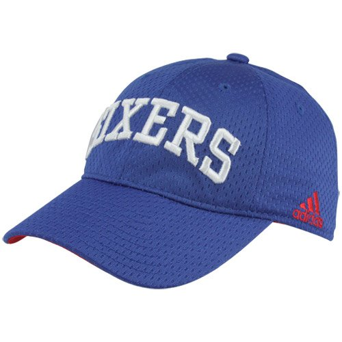 NBA adidas Philadelphia 76ers Basic Logo Slouch Mesh Flex Hat - Royal Blue (Large/X-Large)