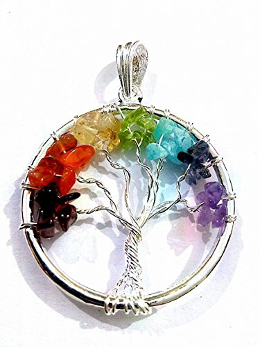 Healing Crystals IndiaTree of Life 7 Chakra-Gemstone Chips Reiki Necklace Spiritual Pendant ()