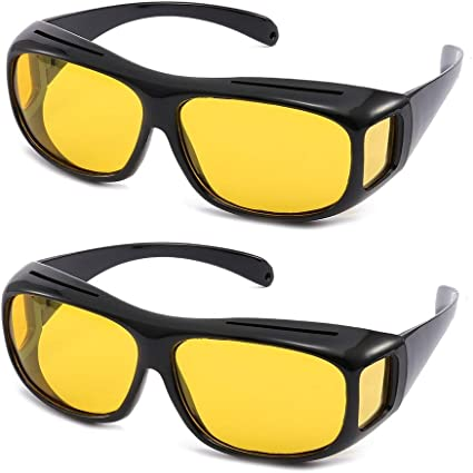 2PCS HD Night Vision Sunglasses Glasses Eyewear For Men//Women Driving Cycling US