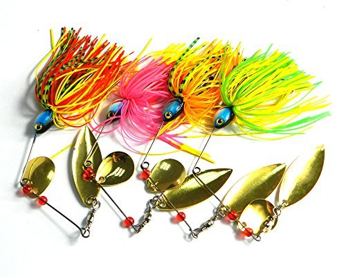 LENPABY 4pcsSpinnerbait/buzzbait Fishing Lure Spinner Baits Kit with Custom Hand Holographic Painted Blades (Hand Painted Lures)
