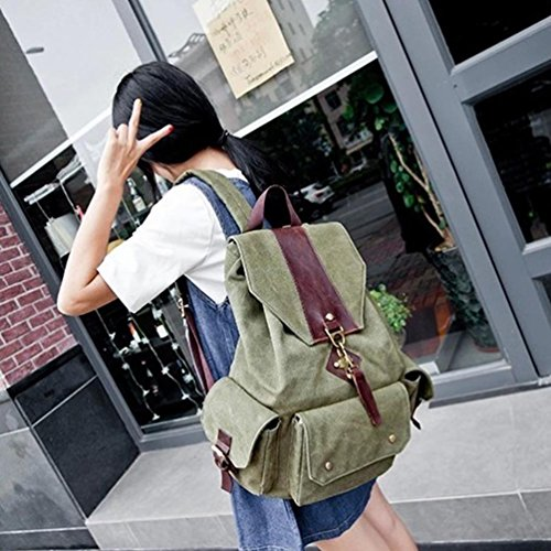 Fuera Retro La De Mochila Camping Bolso Mujeres Verde Chengyang Escuela Para Lona wXZYqx5n8