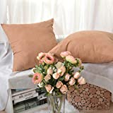 Decorative Pillow Cover - Kevin Textile Deluxe Home Decorative Pillowcases for Livingroom Comfortable Faux Suede Cushion Cover with Hidden Zipper, 24 x 24 Inches(61x61cm), 2 Pcs, Butterum Brown