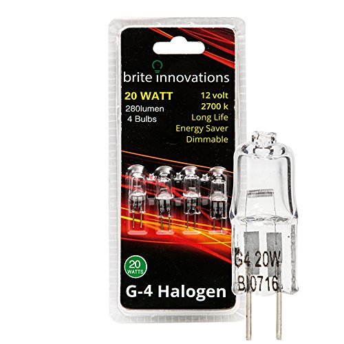 Brite Innovations G4 Halogen Bulb, 20 (4 Pack Halogen Bulb)