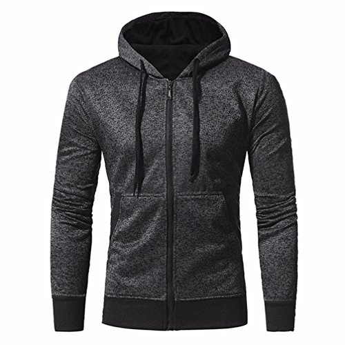 Muranba Men's Autumn Winter Men Materials Slim Designed Hooded Top Cardigan Coat Jacket Outwear (M, Black)