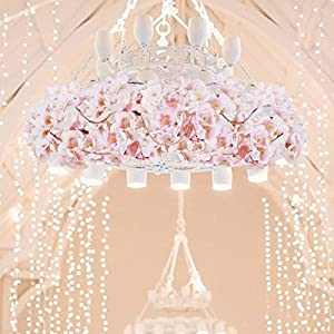 Sunm boutique Artificial Cherry Blossom Wall Hanging Vine Silk Flower Garland Wedding Party Home Decor 2