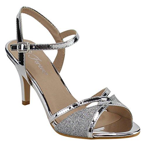 Forever Villa-04 Women's Glitter Metallic Ankle Strap Buckle Wrapped Heel Sandals,Silver,9