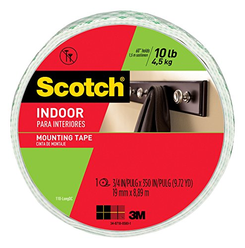 Scotch Indoor Mounting Tape, 0.75-inch x 350-inches, White, Holds up to 10 pounds, 1-Roll (110-LongDC)