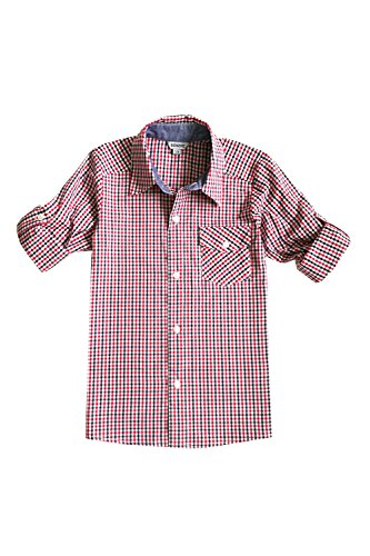 Bienzoe Big Boy 's Cotton Plaid Roll Up Sleeve Button Down Sports Shirts, Red, 9/10