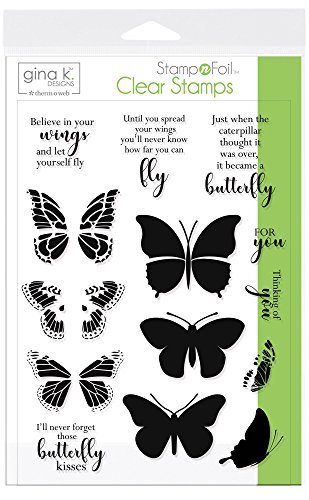 Design Clear Stamp - Gina K. Designs for Therm O Web 18078 Stampnfoil Clear Stamps Gina K. Designs, Butterfly Kisses