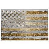 """Remache la bandera americana de oro por el mar en la lona, 45 """"x 30"""""""