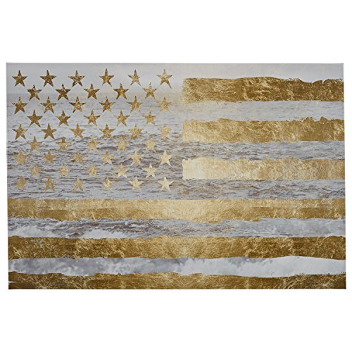 Rivet Gold American Flag by the Sea on Canvas,