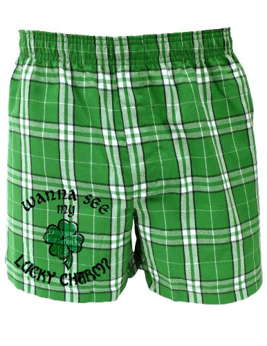 Wanna See My Lucky Charm - St Patricks Day Boxers Shorts - KellyPlaid - XL - Lucky Boxer Shorts