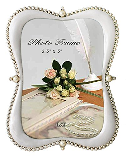 L&T Elegance Metal Picture/Photo Frame Silver with White Ena