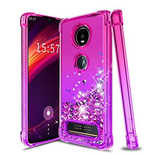iCoold Moto Z4 Case,Moto Z4 Play Case,Bling Glitter Flowing Case for Girls Women,Soft TPU Non-Slip Shockproof Bumper Protective Cute Phone Cover Case for Motorola Moto Z4/Moto Z4 Play,Pink/Purple
