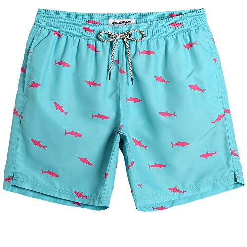 MaaMgic Mens Beach Wear Shark Quick Dry Surfing Short Swim Trunks Swim Suit with Mesh Lining