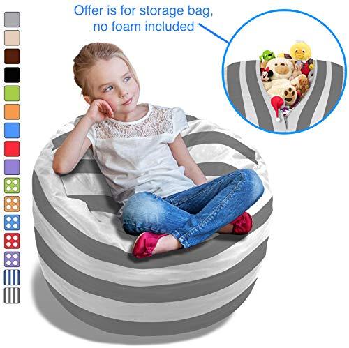 BeanBob Stuffed Animal Bean Bag - Kids Stuffed Animal Storage Bag Chair - Pouf Ottoman for Toy Storage 2.5ft, Grey & White Stripes by BeanBob