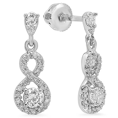 0.40 Carat (ctw) 10K White Gold Round Cut White Diamond Ladies Infinity Swirl Dangling Drop Earrings