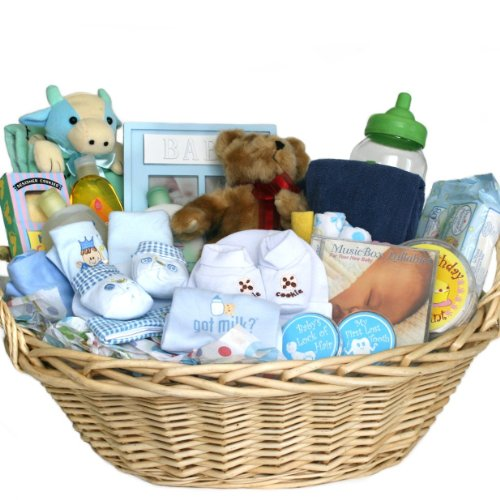 Amazon.com: Deluxe Baby Gift Basket   Blue For Boys   Great Shower Gift  Idea For Newborns: Baby