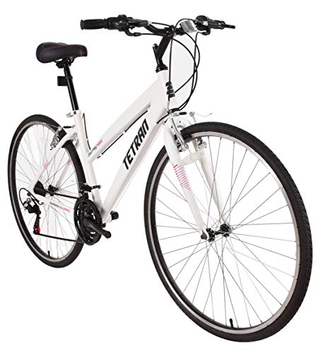Tetran Journey - 700C Hybrid Bike, Alloy Frame and Rims, 21 Speed with Shimano Tourney, Unisex, Wine Red and White