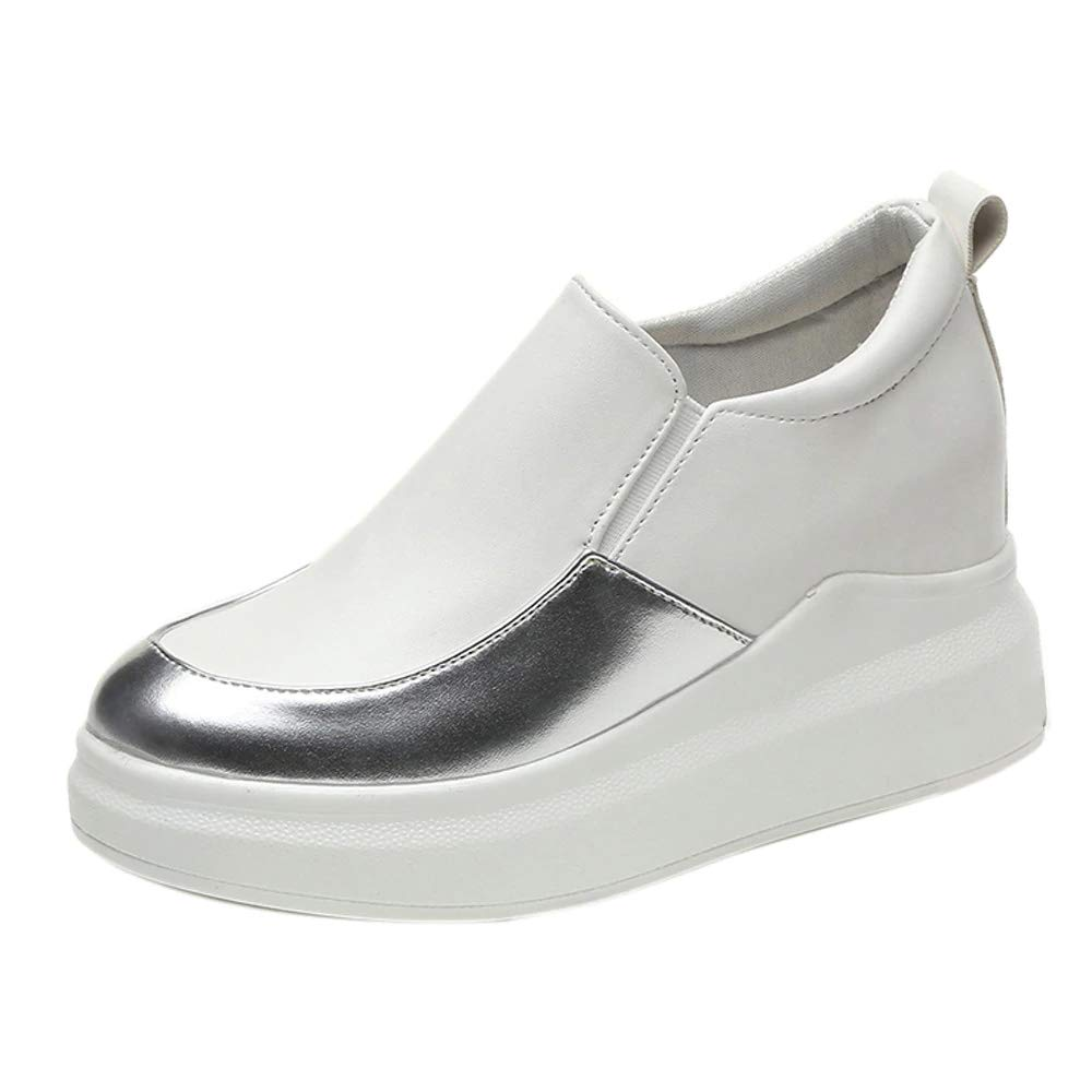 PrasKing High Top Slip On Sneaker Shoes for Women (38 EU/ 5 UK-IND, White::Silver) (B07ZY466RM) Amazon Price History, Amazon Price Tracker