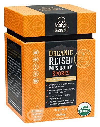 Organic Reishi Mushroom Spore Powder by Mehdi Reishi – 30 Servings, 1,000mg –100% Pure, Natural, Organic Spores –Ganoderma Lucidum, Lingzhi Mushroom – High-Level Potency 4.5%+ Triterpenes For Sale