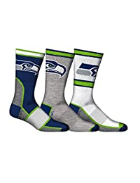 NFL Men's Seattle Seahawks 3-Pack Sport Crew Socks