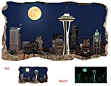 Startonight 3D Mural Wall Art Photo Decor Window Moon on the City Amazing Dual View Surprise Large Wall Mural Wallpaper for Living Room or Bedroom Urban 120 x 220 cm