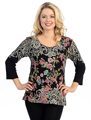 Katina Marie 3/4 Sleeve, V-Neck Cotton Floral Print Black Top - Flower Dynasty