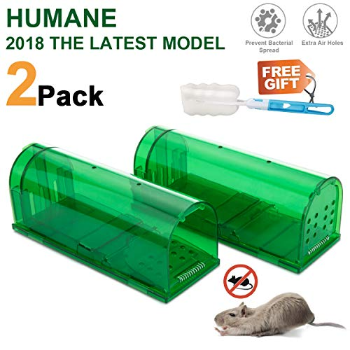 KEEPOOM Mouse Traps, 2 Packs,Humane Rodents Rat Traps Reusable No Kill Mice Catcher,Easy to Set Catch and Release,for Indoor/Outdoor/Mole Catcher