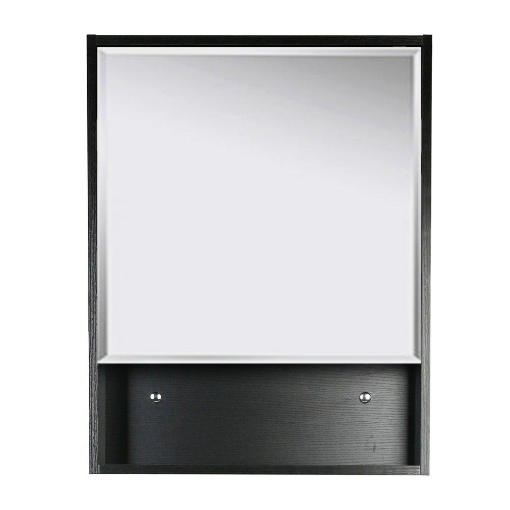 U-Eway 22''x28'' Bathroom Medicine Cabinet Organizer With Mirror 3-Height Adjustable Shelf Wall Mounted Surface Black Bathroom Storage by U-Eway (Image #1)