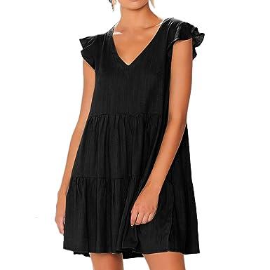 a3de06574a7b4 Womens Casual Loose Ruffles Sleeveless Pleated V-Neck Mini Dress Linen  Summer Beach Sundress (