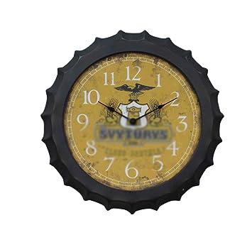 BGGZXX Reloj de Pared Vintage Tapa de Cerveza Reloj de Pared Digital, Creativo Adecuado para Restaurante Bar, Montaje en Pared Diseño de Personalidad,Yellow ...