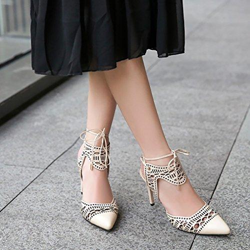 Calaier Sandales Stiletto 7cm Des Femmes Même Des Chaussures Beige Nouage