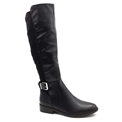 24514a5c1ea1d3 Angkorly - Women s Fashion Shoes Boots - Cavalier - Biker - Soft - Buckle -  Thong
