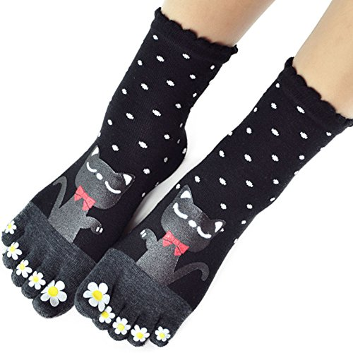 Women Toe Socks Funky Finger Socks Cute Cartoon Cotton Socks (06)