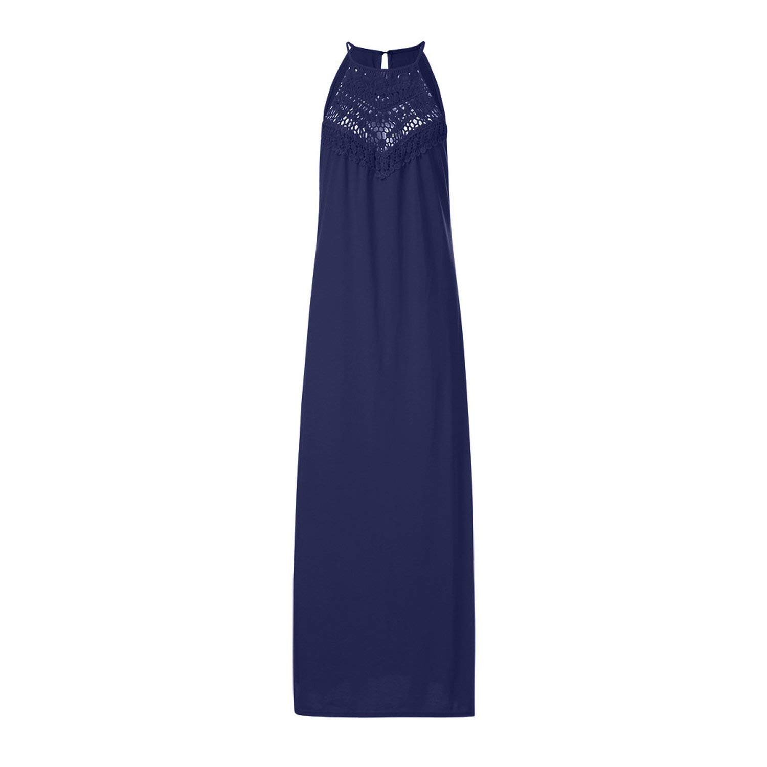 bluee Glittering time Trendy Solid color Long Dress Women's Sexy Fashion Hanging Neck Dress Lace Hollow Loose Large Dress Vestidos