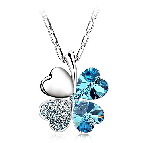 (UPSERA Four Leaf Clover Necklace Made with Swarovski Crystals Heart-Shaped Shamrock Jewelry for Women Chain Length 17