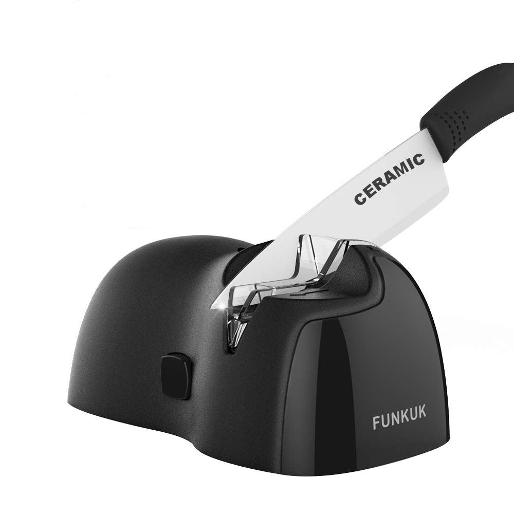 Electric knife sharpener, kitchen knife sharpener electric for CERAMIC, metal knife Portable & Wireless by FUNKUK