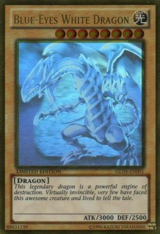Limited Edition Rare Card - Yu-Gi-Oh! - Blue-Eyes White Dragon (GLD5-EN001) - Gold Series: Haunted Mine - Limited Edition - Ghost/Gold Hybrid Rare